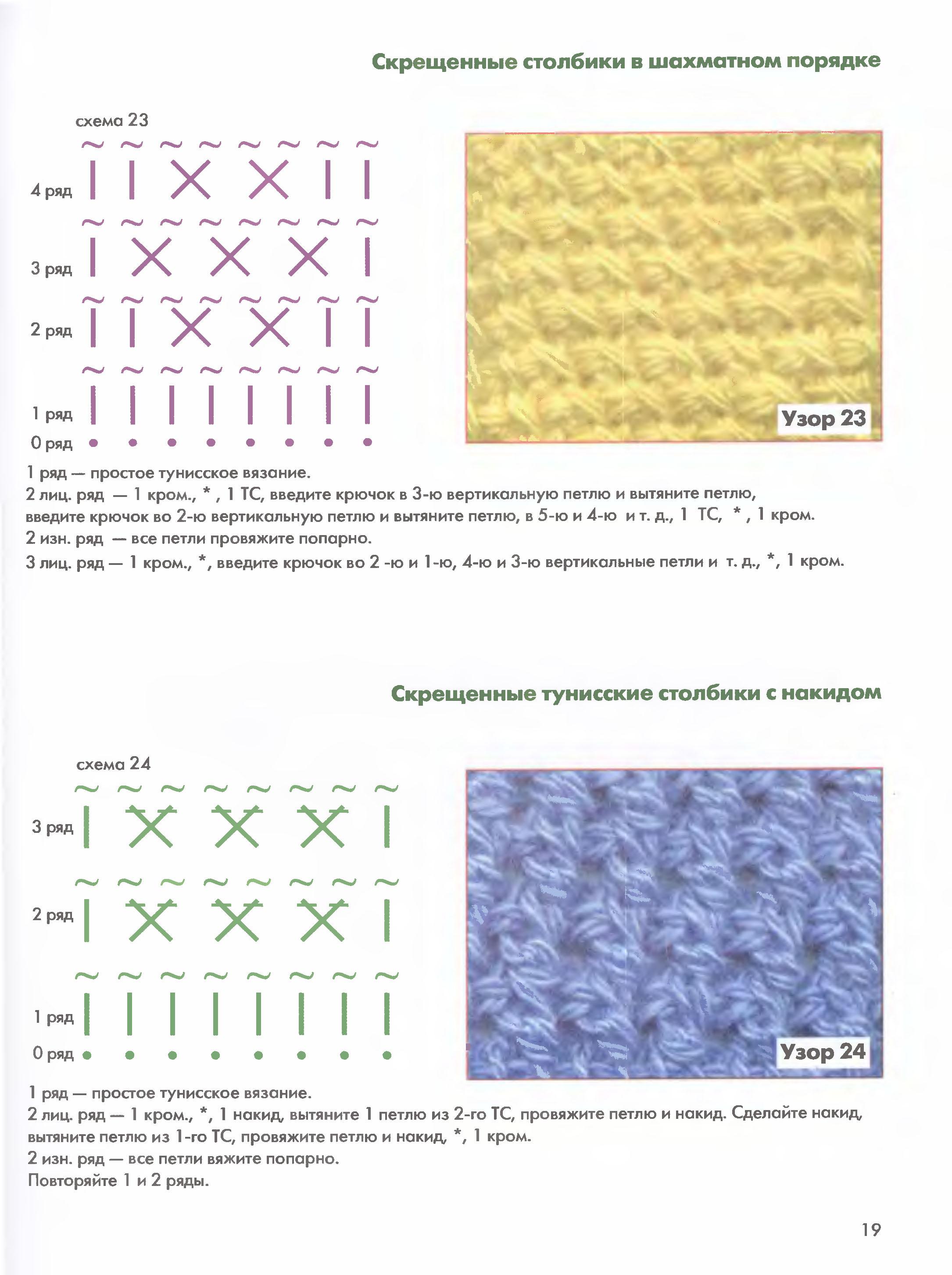 Схема вязания узора вафля