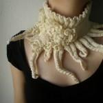 Elan ... Knitted Neckwarmer_Scarflette - Ivory - Cream - Roses